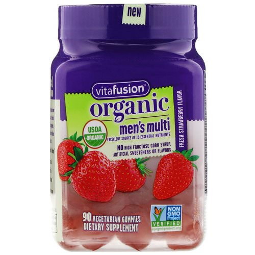 VitaFusion, Organic Mens' Multi, Fresh Strawberry, 90 Vegetarian Gummies Review