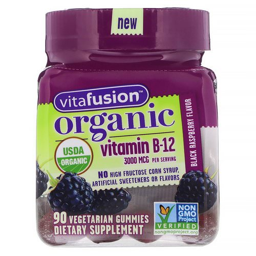 VitaFusion, Organic Vitamin B-12, Black Raspberry, 3000 mcg, 90 Vegetarian Gummies Review