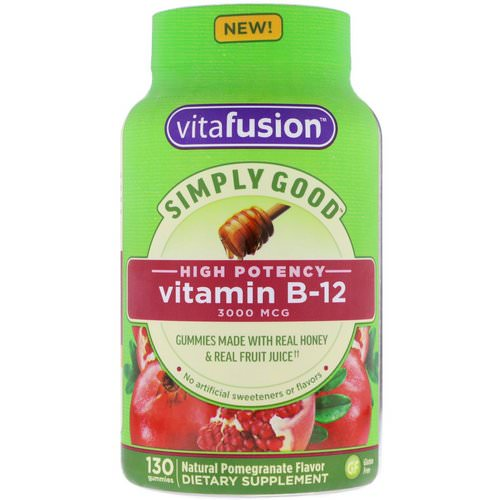 VitaFusion, Simply Good, Vitamin B-12, Natural Pomegranate Flavor, 3000 mcg, 130 Gummies Review
