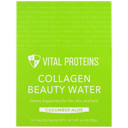 Vital Proteins, Collagen Beauty Water, Cucumber Aloe, 14 Packets, 0.46 oz (13 g) Review