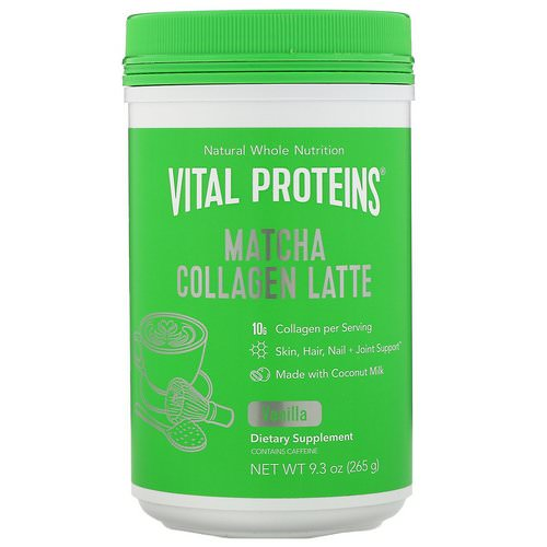 Vital Proteins, Matcha Collagen Latte, Vanilla, 9.3 oz (265 g) Review