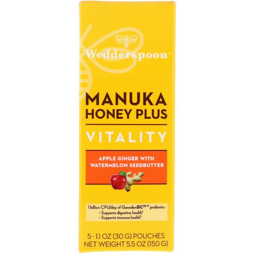 Wedderspoon, Manuka Honey Plus, Vitality, Apple Ginger with Watermelon Seedbutter, 5 Pouches, 1.1 oz (30 g) Each Review
