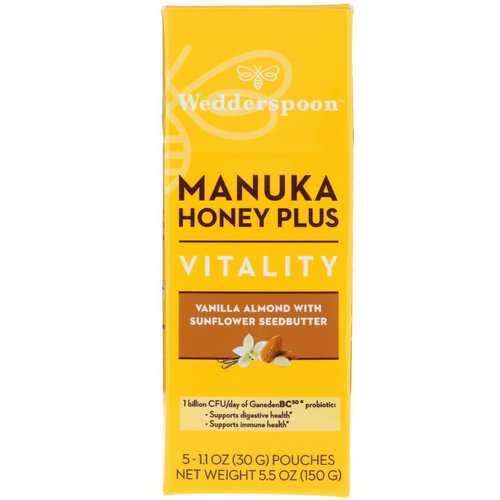 Wedderspoon, Manuka Honey Plus, Vitality, Vanilla Almond with Sunflower Seedbutter, 5 Pouches, 1.1 oz (30 g) Each Review