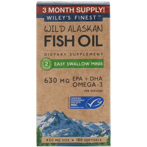 Wiley's Finest, Wild Alaskan Fish Oil, Easy Swallow Minis, 450 mg, 180 Softgels Review