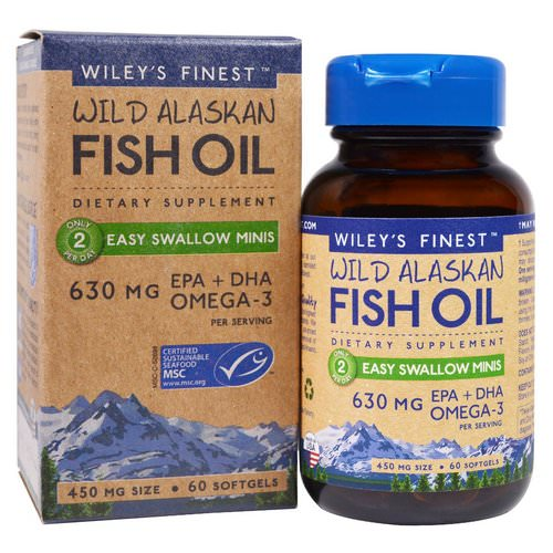 Wiley's Finest, Wild Alaskan Fish Oil, Easy Swallow Minis, 450 mg, 60 Softgels Review