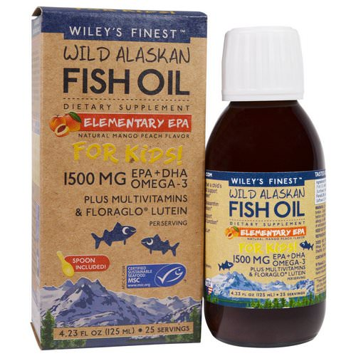 Wiley's Finest, Wild Alaskan Fish Oil, Elementary EPA, For Kids! Natural Mango Peach Flavor, 1500 mg, 4.23 fl oz (125 ml) Review