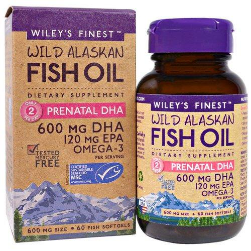 Wiley's Finest, Wild Alaskan Fish Oil, Prenatal DHA, 600 mg, 60 Fish Softgels Review