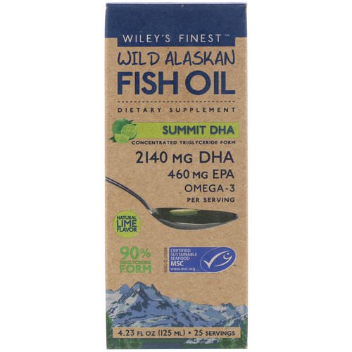 Wiley's Finest, Wild Alaskan Fish Oil, Summit DHA, Natural Lime Flavor, 4.23 fl oz (125 ml) Review