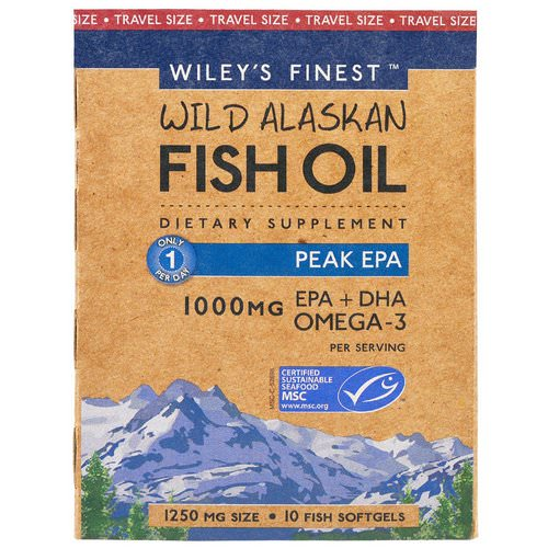 Wiley's Finest, Wiley's Finest, Wild Alaskan Fish Oil, Peak EPA, 1250 mg, 10 Fish Softgels Review