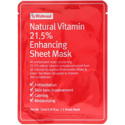 Wishtrend, Natural Vitamin 21.5% Enhancing Sheet Mask, 1 Mask, 0.81 fl oz (23 ml) Review