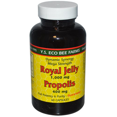 Y.S. Eco Bee Farms, Royal Jelly, Propolis, 1,000 mg/400 mg, 60 Capsules Review