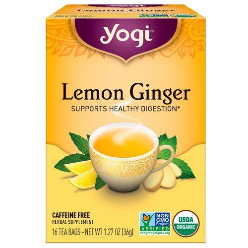 Yogi Tea, Lemon Ginger, Caffeine Free, 16 Tea Bags, 1.27 oz (36 g) Review