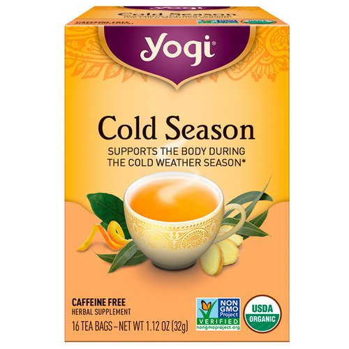 Yogi Tea, Organic, Cold Season, Caffeine Free, 16 Tea Bags, 1.12 oz (32 g) Review
