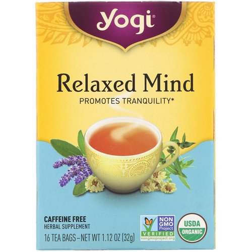 Yogi Tea, Organic Relaxed Mind, Caffeine Free, 16 Tea Bags, 1.12 oz (32 g) Review