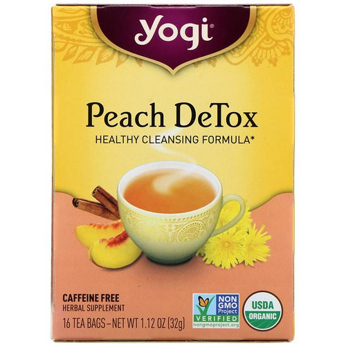 Yogi Tea, Peach DeTox, Caffeine Free, 16 Tea Bags, 1.12 oz (32 g) Review