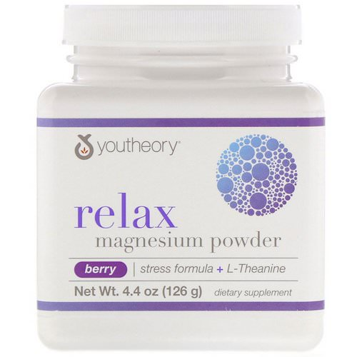 Youtheory, Relax, Magnesium Powder, Stress Formula + L-Theanine, Berry, 4.4 oz (126 g) Review
