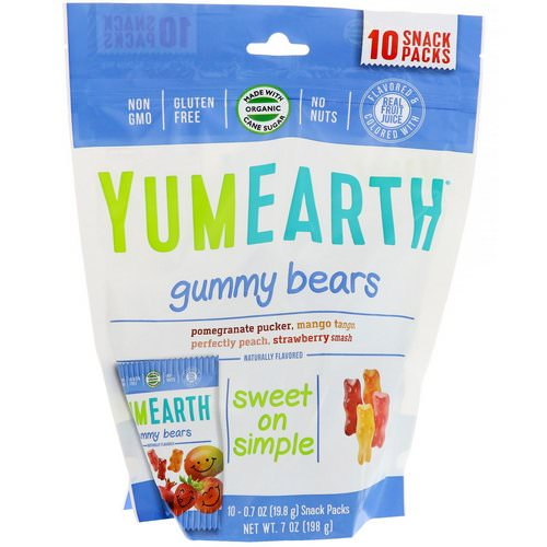 YumEarth, Gummy Bears, Assorted Flavors, 10 Snack Packs, 0.7 oz (19.8 g) Each Review
