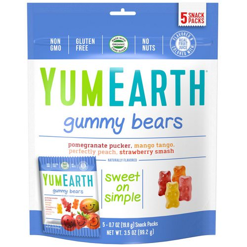 YumEarth, Gummy Bears, Assorted Flavors, 5 Snack Packs, 0.7 oz (19.8 g) Each Review