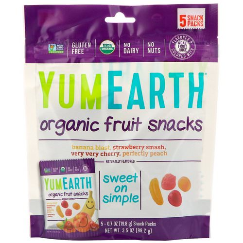 YumEarth, Organic Fruit Snacks, 5 Packs, 0.7 oz (19.8 g) Each Review