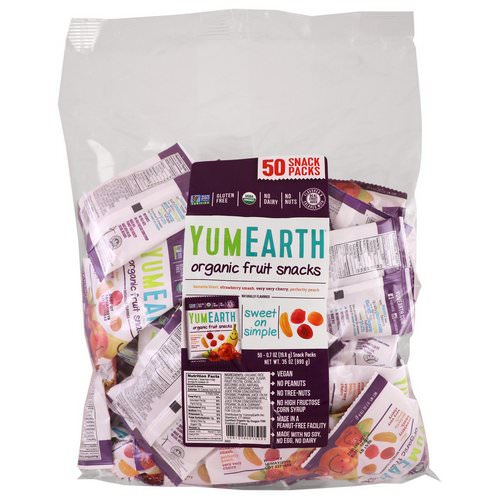 YumEarth, Organic Fruit Snacks, Banana Blast, Strawberry Smash, Very Very Cherry, Perfectly Peach, 50 Snack Packs, .7 oz (19.8 g) Each Review