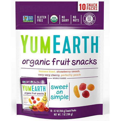 YumEarth, Organic Fruit Snacks, Original, 10 Packs, 0.7 oz (19.8 g) Each Review