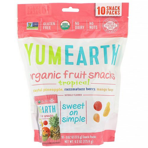 YumEarth, Organic Fruit Snacks, Tropical, 10 Packs, 0.62 oz (17.6 g) Each Review