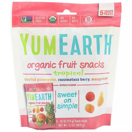 YumEarth, Organic Fruit Snacks, Tropical, 5 Packs, 0.62 oz (17.6 g) Each Review