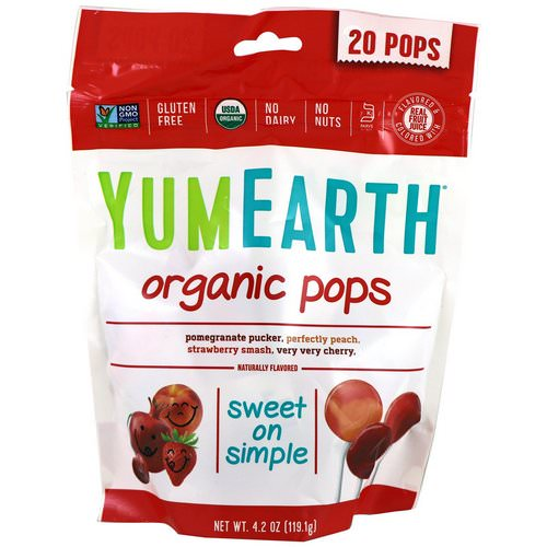 YumEarth, Organic Pops, Assorted Flavors, 20 Pops, 4.2 oz (119.1 g) Review