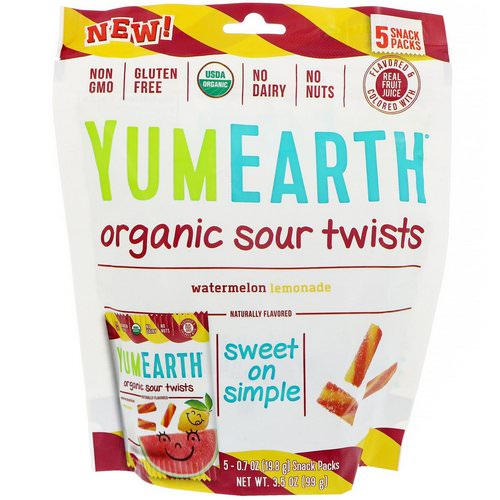 YumEarth, Organic Sour Twists, Watermelon Lemonade, 5 Snack Packs, 0.7 oz (19.8 g) Each Review