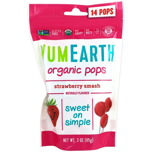 YumEarth, Organic Strawberry Pops, Strawberry Smash, 14 Pops, 3 oz (85 g) Review