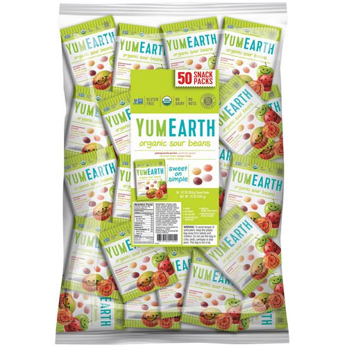 YumEarth, Sour Jelly Beans, Snack Pack (Bulk), 50 Snack Packs, 20 g Each Review