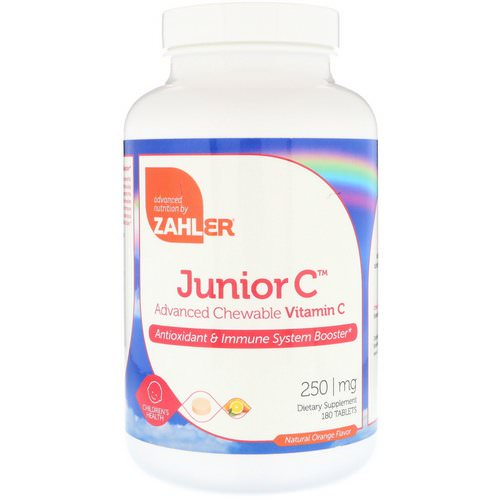 Zahler, Junior C, Advanced Chewable Vitamin C, Natural Orange Flavor, 250 mg, 180 Tablets Review