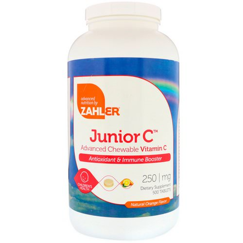 Zahler, Junior C, Advanced Chewable Vitamin C, Natural Orange Flavor, 250 mg, 500 Tablets Review