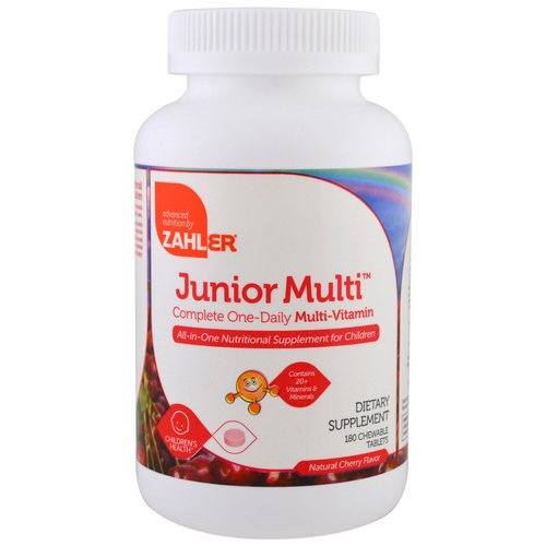 Zahler, Junior Multi, Complete One-Daily Multi-Vitamin, Natural Cherry Flavor, 180 Chewable Tablets Review
