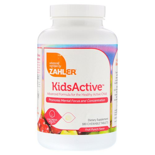Zahler, KidsActive, Advanced Formula for the Healthy Active Child, Fruit Punch, 180 Chewable Tablets Review