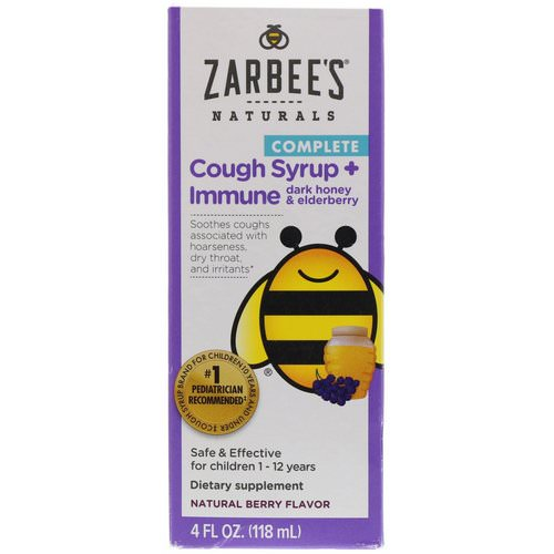 Zarbee's, Children's Complete Cough Syrup + Immune with Dark Honey & Elderberry, Natural Berry Flavor, 4 fl oz (118 ml) Review
