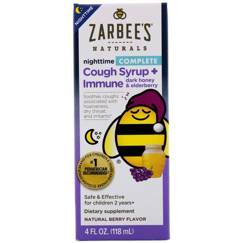 Zarbee's, Children's Complete Nighttime Cough Syrup + Immune, Natural Berry Flavor, 4 fl oz (118 ml) Review