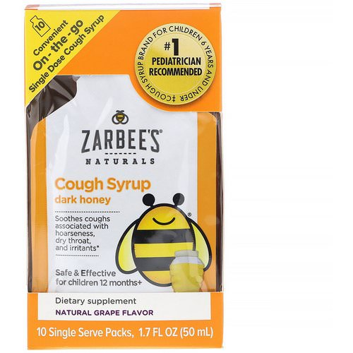 Zarbee's, Children's Cough Syrup with Dark Honey, On-the-Go, Natural Grape Flavor, 10 Single Serve Packs, 1.7 fl oz (50 ml) Review
