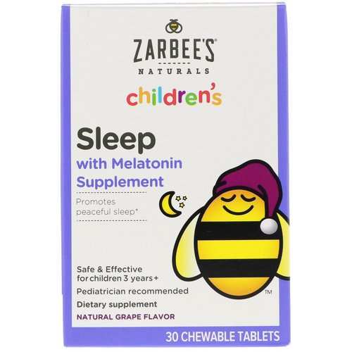 Zarbee's, Children's, Sleep with Melatonin Supplement, Natural Grape, 30 Chewable Tablets Review