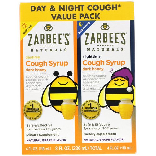 Zarbee's, Naturals, Children's Cough Syrup with Dark Honey, Daytime & Nighttime Value Pack, Natural Grape Flavor, 4 fl oz (118 ml) Each Review