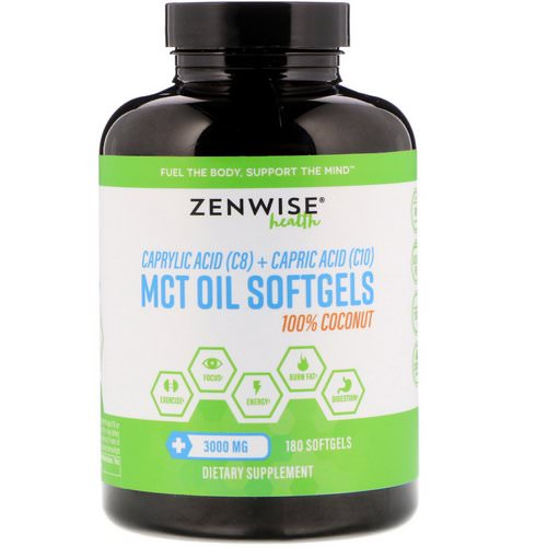 Zenwise Health, 100% Coconut MCT Oil, 3000 mg, 180 Softgels Review