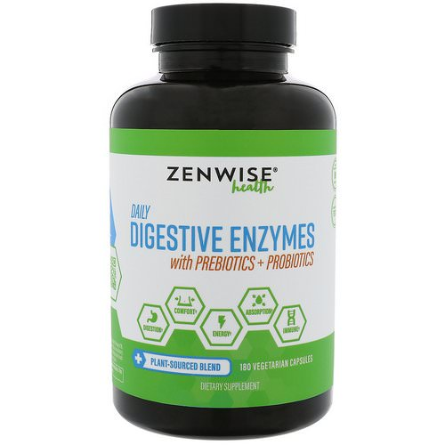 Zenwise Health, Daily Digestive Enzymes with Prebiotics + Probiotics, 180 Vegetarian Capsules Review