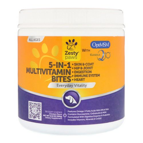 Zesty Paws, 5-In-1 Multivitamin Bites for Dogs, Everyday Vitality, All Ages, Chicken Flavor, 90 Soft Chews Review