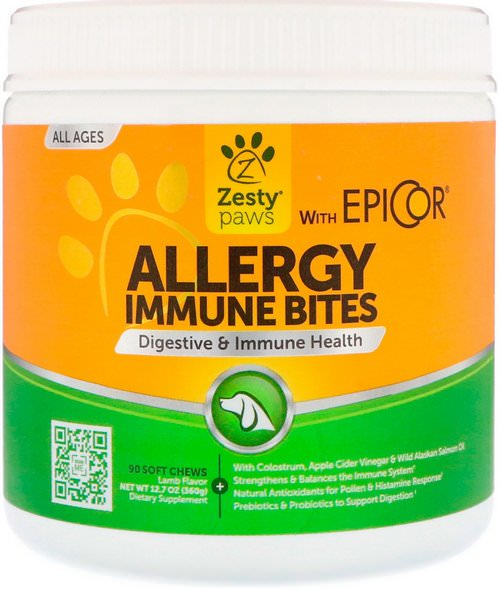 Zesty Paws, Allergy Immune Bites, Digestive & Immune Health, for Dogs, All Ages, Lamb Flavor, 90 Soft Chews Review