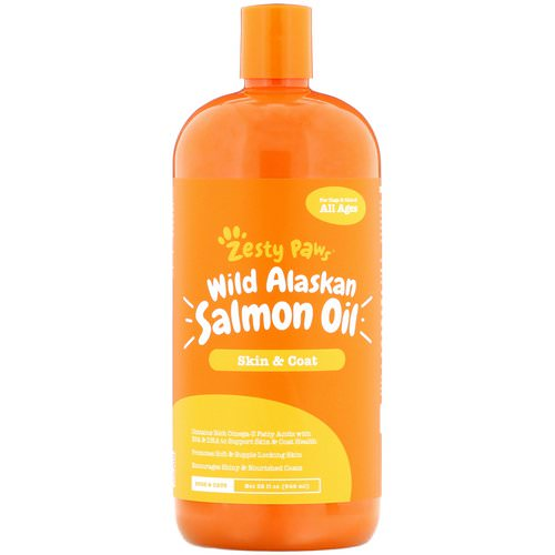 Zesty Paws, Wild Alaskan Salmon Oil for Dogs & Cats, Skin & Coat, All Ages, 32 fl oz (946 ml) Review