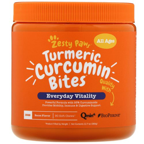 Zesty Paws, Turmeric Curcumin Bites for Dogs, Everyday Vitality, All Ages, Bacon Flavor, 90 Soft Chews Review