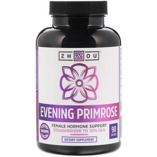 Zhou Nutrition, Evening Primrose, Female Hormone Support, 1400 mg, 90 Softgels Review