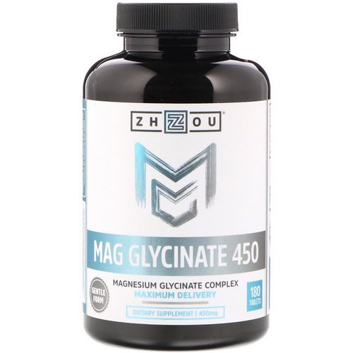 Zhou Nutrition, Mag Glycinate 450, 450 mg, 180 Tablets Review