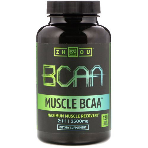 Zhou Nutrition, Muscle BCAA, Maximum Muscle Recovery, 2500 mg, 120 Veggie Capsules Review
