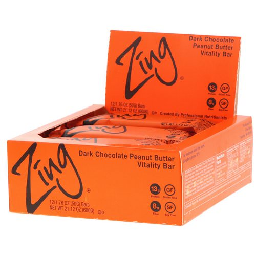 Zing Bars, Vitality Bar, Dark Chocolate Peanut Butter, 12 Bars, 1.76 oz (50 g) Each Review